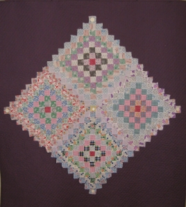 Laura's Peace(vintage piecing on quilted background)